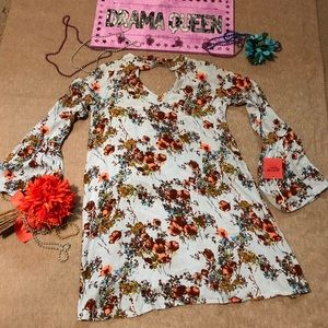 NEW! Mossimo Blue Floral Long Bell Sleeve Dress XS